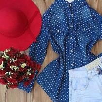 Camisa Jeans Feminina, Degrade, 2 Cores, Lisa, Corações Boli