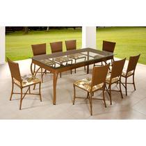 Conjunto Para Sala De Jantar Mesa E 8 Cadeiras Em Alumínio