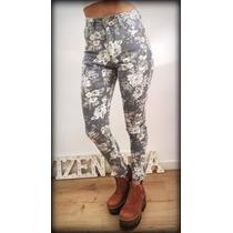 Jeans, Tiro Alto, Chupin Semi Elastizado Floreado