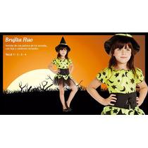 Halloween Disfraz Bruja Con Gorro Color Flúo Fiesta Monster