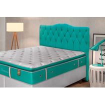 Cabeceira Casal Quenn Luxury P/ Cama Box 1,60 Cm Soft Verde
