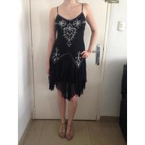Vestido Coctel Corto Color Negro Con Piedreria Talla S