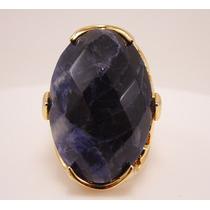 Anel Folheado A Ouro- Pedra Natural Azul Mesclado Com Branco