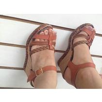 Sandalia De Salto Plataforma Anabela Trançada . Espadrilhe