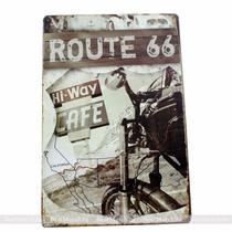Placa Decorativa Bar Garagem Motocicleta Rota 66