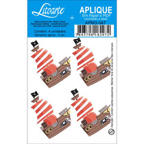 Aplique Mdf E Papel Litoarte 3 Cm - Modelo Apm3- 047 Barco
