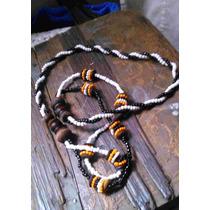 Collar Antiguo De Chaquira Y Madera