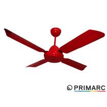 Ventilador De Techo 4 Palas Metal Color Rojo Fabrica