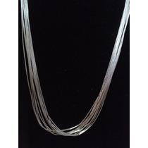 Ana Baez Joyeria® - Collar Plata Líquida 20 Hilos 44 Cm