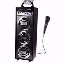Caixa De Som Portátil 40w Bluetooth Fm Controle C/ Microfone