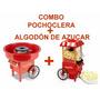Combo Pochoclera Carrtio + Algodon De Azucar Copos De Nieve
