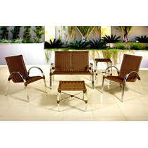 Conj.alumínio Namoradeira+2 Cadeiras+mesa Em Fibra Sintética