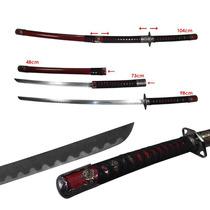 Katana Samurai Doble Wakizashi Espada Rojo Acero