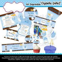 Kit Imprimible Cigüeña Baby Shower Niño Tierno Bebe Etiqueta