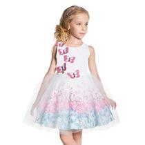 Vestido Infantil Branco Borboletas Bordadas E Saia De Tule R