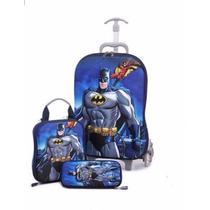 Kit Mochila Infantil 3d Batman + Lancheira + Estojo