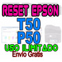 ++ Reset Almohadillas Epson Original P50 T50 Envio Gratis +