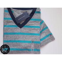 Camiseta Básica Gola V Listrada Tommy Hilfiger Original Masc