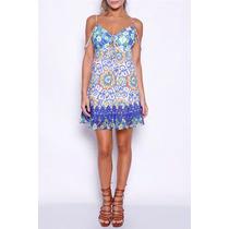 Vestido Curto Colcci Azulejo Floral