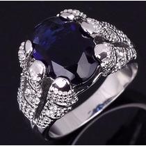 Anel Masculino Folheado Ouro Branco Pedra Safira Azul