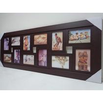 Quadro Painel De Fotos - 12 Fotos - Mod. Lisa - Cor Tabaco