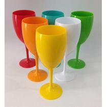 Taça De Vinho Em Acrílico 400ml - Kit Com 6 Taças Coloridas