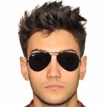Óculos Aviador Masculino Todo Preto Tamanho Médio E Grande