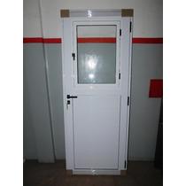 Puerta Aluminio Blanca Reforzada De 80 Con Postigo De Abrir