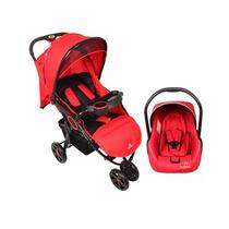 Carrinho Passeio 3 Rodas C/ Bebê Conforto Vermelho - Dardara