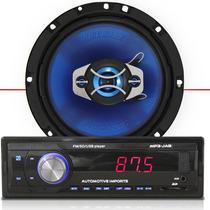 Auto Radio Mp3 Player + Par Alto Falante 6.5 Polegadas 65w