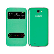 Samsung Galaxy Note 2 Flip Cover Piel S View Doble Verde
