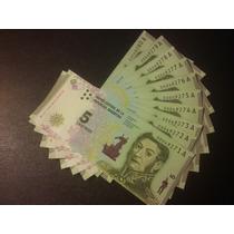 Lote X 10 Billetes Nuevos 5 Pesos San Martín . Correlativos