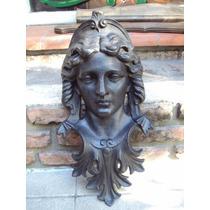 Mascara De Hierro Antigua Con Rostro De Mujer 52cm Alto