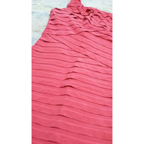 Vestido De Fiesta Color Coral Seda Fría Rasada Talle M