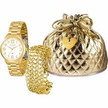 Relógio Lince Dourado Feminino (orient) Lrg4262l Prova Dágua