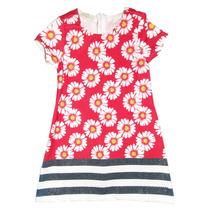 Vestido Infantil Vermelho Com Margaridas E Barrado Listradoc