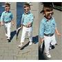 Conjunto Menino Infantil Calça, Cinto Camisa Social Xadrez