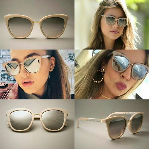 836f810a8 Óculos De Sol Espelhado Feminino Lindo Moda Verão + Flanela - R$ 120 ...