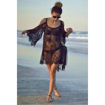 Vestido De Encaje Importado Corto Playero - Hippie - Boho