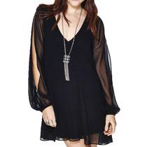 Vestido Corto Casual Sexy Mini Negro Moderno Gotico