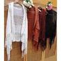 Colete Kimono Tricot Longo Com Franja Trico Inverno Crochê