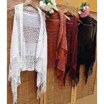 Colete Kimono Tricot Longo Com Franja Trico Crochê