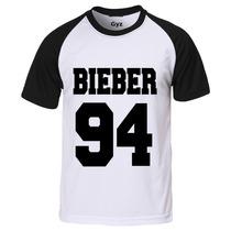 Camiseta Raglan Manga Curta Justin Bieber College