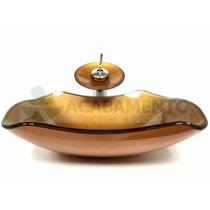 Kit Cuba Vidro Dourada + Misturador Dourado + Válvula Click