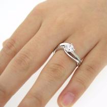 Anel Solitário Em Ouro 18 Quilate Com Diamantes