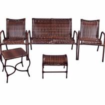 Conjunto De Cadeiras Namoradeira E Mesa Rattan Varanda Junco