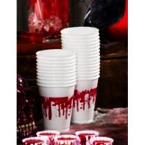 Halloween 25 Vasos Plástico Sangre Decoración Adorno Muertos