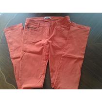 Pantalon Strech Tubito Dama Color Naranja Talla M.