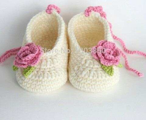c34493e87 Zapatos Tejidos A Crochet Para Niña Flor -   80.00 en Mercado Libre
