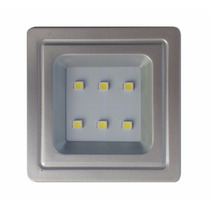 Spot Prata Quadrado Embutir P/ Móveis 6 Leds 0,5w Luminária